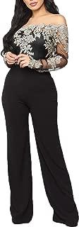 Elegant Appliques Lace Patchwork Jumpsuit Women Sexy Off Shoulder Slim Wide Pants Romper