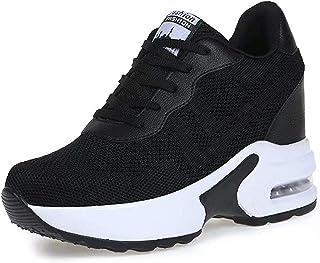 AONEGOLD Sneakers Zeppa Donna Scarpe da Ginnastica Basse Tennis Sportive Fitness Scarpe con Zeppa Interna Tacco 8.5 cm Cas...