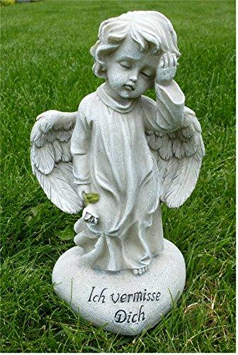 *Trauerengel Grabschmuck Engel auf Herz *Ich vermisse Dich* Rose antik, H 19cm