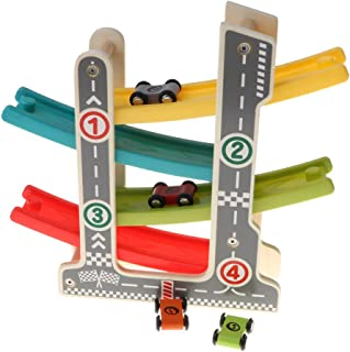 Wooden Slider Click Clack 4 Layer Race Track Playset with 4 Race Cars, Kids Toddlers Preschool Educational Toy