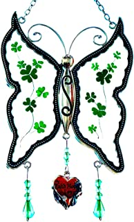 Cos2be Butterfly Suncatcher with Pressed Flower Wings in Glass Ornament for Window Silver Metal Wind Engraved Charm - Gifts for Sister Mom Grandma Birthdays Christmas St.Patrick's Day with Gift Boxes