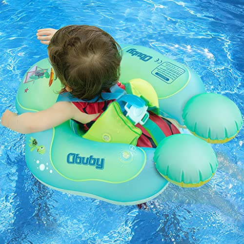 baby pool floats Obuby Baby Swimming Float Ring Inflatable Neck Pool Floats with Safe Bottom Support Children Waist Swim Water Toys Accessories for Toddler Age of 3-36 Months, Large