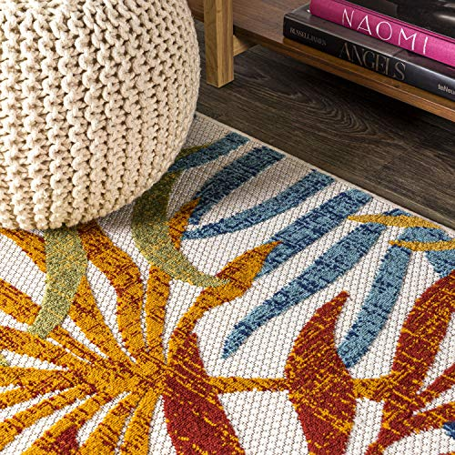 JONATHAN Y Tropics Palm Leaves Indoor/Outdoor Cream/Orange 8 ft. x 10 ft. Area Rug, Outdoor, Easy Cleaning, For High Traffic, Kitchen, Living Room, Backyard, Non Shedding