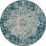 YiQin DiTan Alfombra redonda lavable estilo étnico vintage alfombra para sala de estar, mesa de café, dormitorio, mesita de noche, alfombra de salón (color: #4, tamaño: 200 cm)