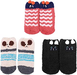 Conjunto de 3 Calcetines Calcetines para niños Bebé Corto Niño niña 3-6 años antideslizante Patrón de calcetín de peluche Animal lindo Hogar Zapatillas Suave Cálido Espesar
