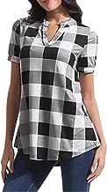 RobemonÉlégant Plaid Print Chemisiers Femme Fille Chemise Manches Courtes Col V Shirt Lâche T-Shirt Tops Blouse