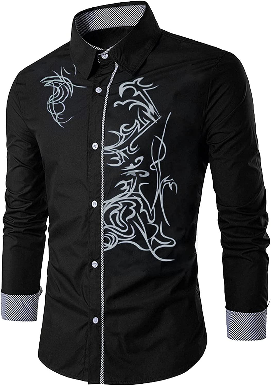 DZQUY Men's Print Button Down Dress Shirts Fashion Slim Fit Long Sleeve Polo Shirts Casual Turn-Down Collor Work Tee Tops