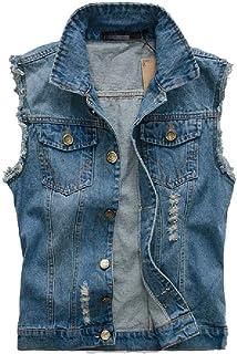 Comaba Men Broken Hole Casual Button Sleeveless Plus Size Denim Jacket Vest
