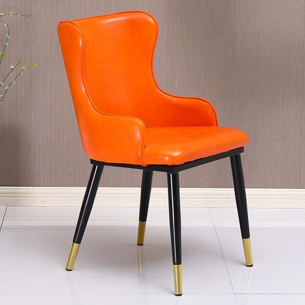 HXF- Chaise de salle à manger, chaise de bureau simple, dossier créatif, chaise de loisirs, chaise de salle à manger pour adulte durable (couleur : doré-A) Orange