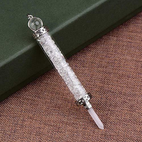 SAIYI Grava Natural Espécimen Cristal Screter Energía Transmisor Vidrio Cristal de Cristal Deseando Botella Arte Collar Amuleto de Unisex Charm Regalo (Color : Rock Crystal Quartz)