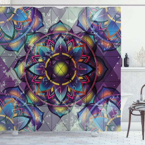 Ambesonne Lotus Shower Curtain, Psychedelic Surreal Geometry...