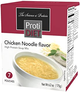 ProtiDIET Chicken Noodle Soup (7 Pouches), High Protein, Delicious Chicken Noodle Soup Mix, No Sugar Meal Replacement, No ...