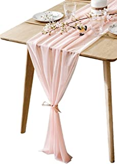 BOXAN Gorgeous Light Peach Table Runner 30x120 Inch for Blush Romantic Wedding Decor, Bridal Shower, Baby Shower, Birthday Party Cake Table Decoration