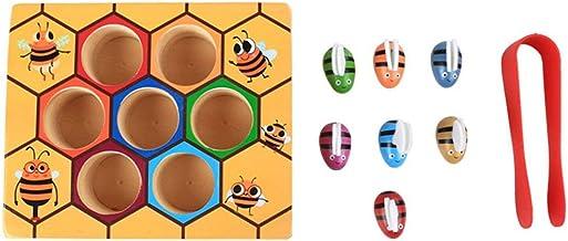 CHANNIKO-ES Clip de los niños Juegos de la Colmena de Inteligencia Color Cognición Juguetes Clip Pequeño Juguete de la Abeja De Madera Herramientas de Educación de la Primera Infancia