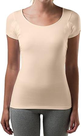 T THOMPSON TEE Sweatproof Undershirt for Women with Underarm Sweat Pads (Slim Fit, Scoop Neck)