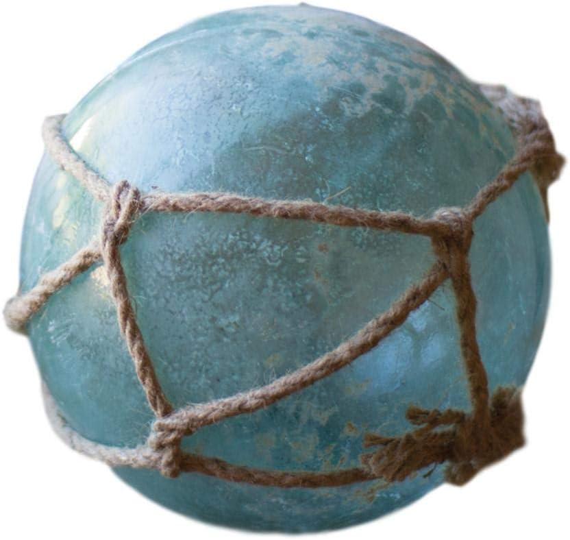 MY SWANKY HOME Reclaimed Antique Glass Green Fishing Float Set 3 Coastal Buoy Decorative Ball
