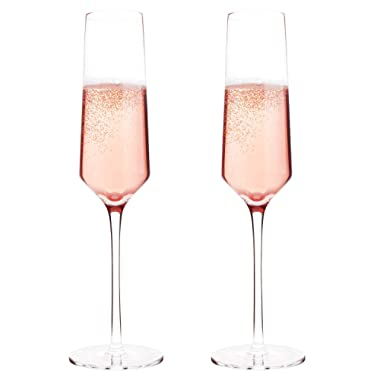 Bella Vino Classy Champagne Flutes - Hand Blown Crystal Champagne Glasses Made from 100% Lead Free Premium Crystal Glass, Perfect for Any Occasion,Great Gift, 10 , 7 Oz, Set of 2, Clear