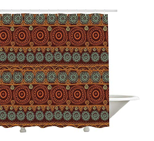 Yeuss Primitive Decor Collection, Muster der Aborigines mit r&er Spitze & floralen Kreisen, australisches Kunsthandwerksbild, Duschvorhang aus Polyestergewebe, Set mit Haken, Orangebraun