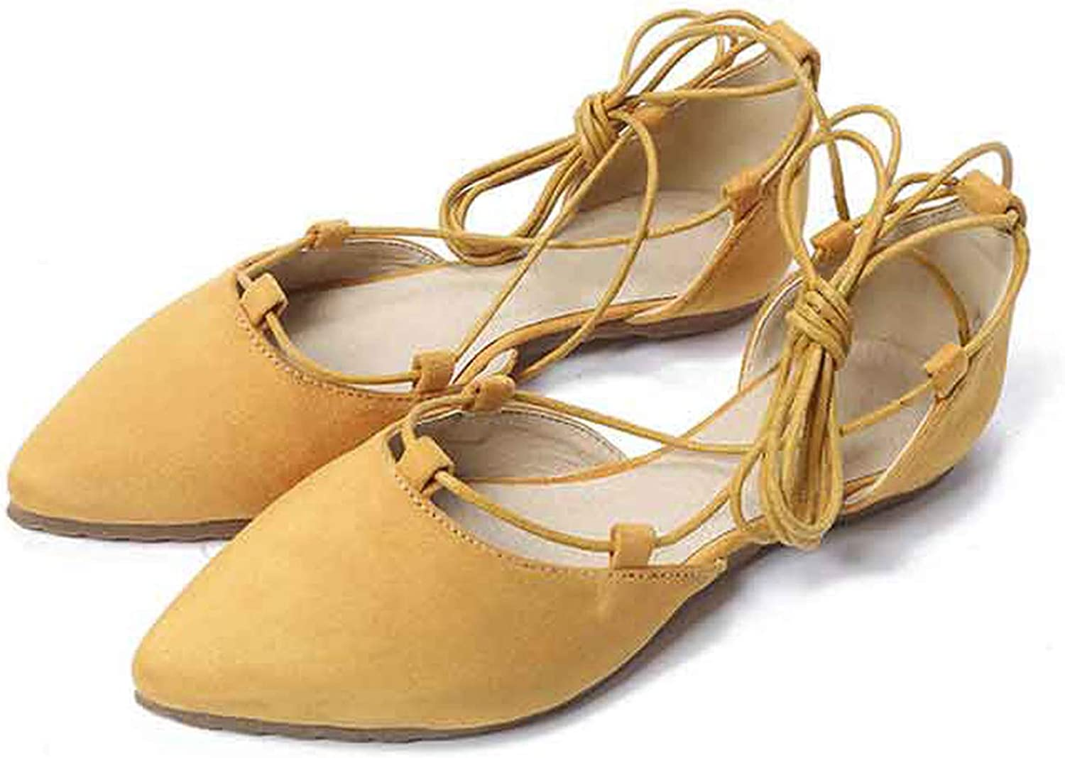 Oasrs Summer Sandals Women Pointed Cross Raps Single shoes Comfortable Flat with Shallow Mouth Women's shoes,Yellow,5