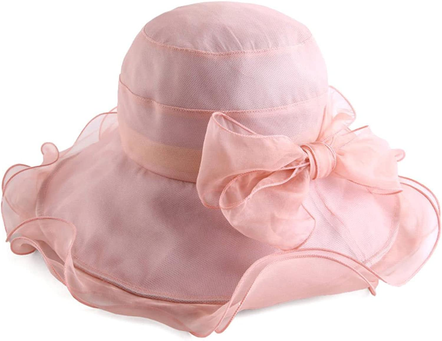 EqEUEZQr Floral Bow Organza Foldable Wide Brim Floppy Beach Hats for Women Adjustable Silk Sun Caps