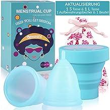 Menstruationstasse Set (1x Große& 1x Klein& Renigungsbecher& Bewahrungsbeutel) medizinischem Silikon Nachhaltige Monatshyg...