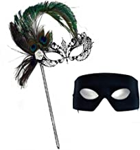 Success Creations Corrine Deluxe Peacock Stick Mask-Verona Masquerade Masks for a Couple