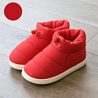 Winter Fur Shoes Men's Bag with Cotton Slippers Large Size Household Non-Slip Warm Cotton Shoes,Red,38/39