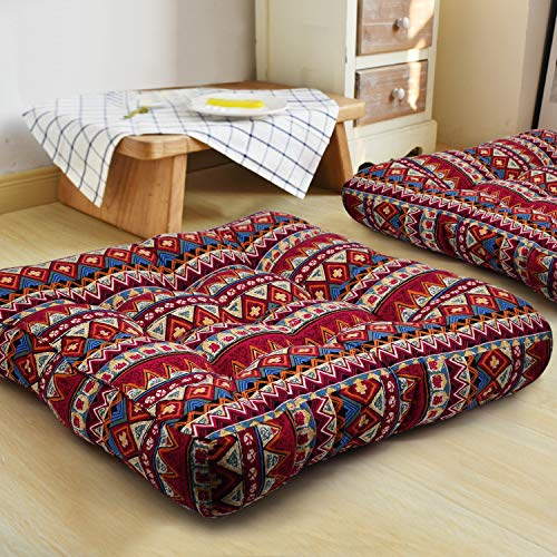 HIGOGOGO Bohemian Floor Pillow, Large Mandala Meditation Pillow Square Boho Seat Cushion Indian Yoga Cushion Floor Pad for Home Bay Window Party Garden Decoration, 22x22 Inch, Stripe Red