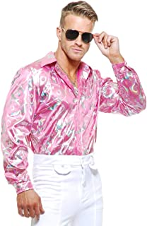 Mens Adult's 70s Metallic Shiny Pink Hologram Disco Shirt Costume