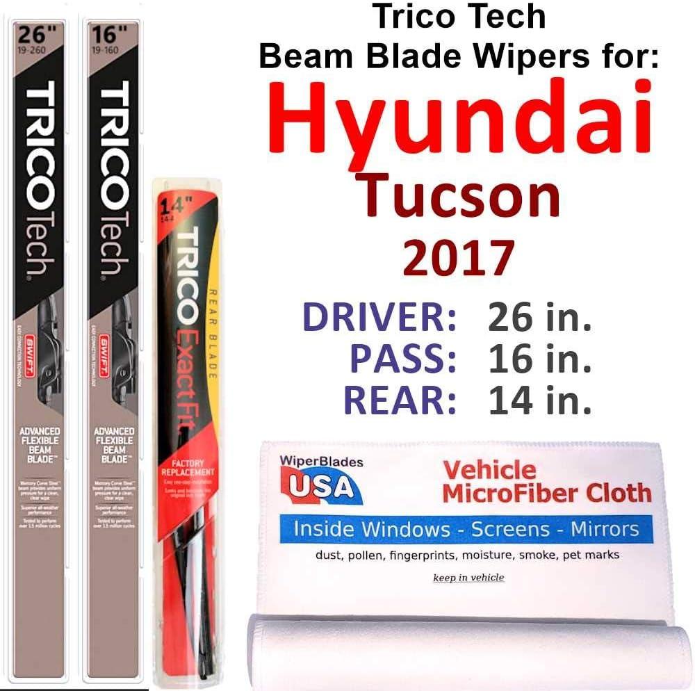 Beam Blades Now on sale Wipers for 2017 Hyundai Rear Tech w Tucson Trico Gorgeous Set