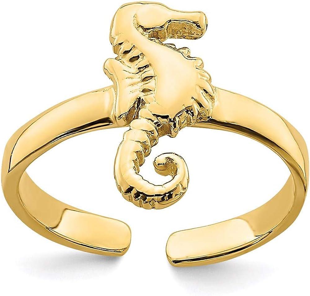 14k Yellow Gold ADJUSTABLE SEAHORSE Toe Ring