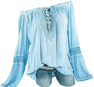 LOPELY Women's Casual Tops Cold Shoulder Long Sleeve Bat Wing Sleeve Lace Splice Shirt Cutouts Flowy Daily Blouse Loose T-Shirt