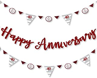 Big Dot of Happiness We Still Do - 40th Wedding Anniversary - Anniversary Party Letter Banner Decoration - 36 Banner Cutouts and Happy Anniversary Banner Letters