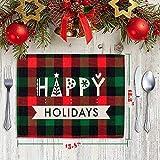 MTaoyac Weihnachten Deko, Weihnachts-Platzsets, Weihnachts-Tischsets und Untersetzer, rutschfest ,hitzebeständig, wasserdicht, Schmutzabweisend und Waschbare.(6er Set) - 3