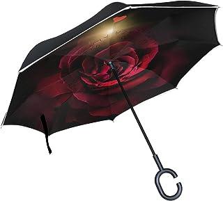 Isaoa Grand parapluie invers/é Parapluie coupe-vent double couche Construction invers/ée Parapluie pliable pour auto imperm/éable /à lext/érieur poign/ée en forme parapluie Lion Mignon Parapluie