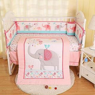 Hamkaw 7 Pieces Nursery Crib Bedding Set,Unisex Baby Cradle Bedding Set Nursery Decor with 4Pcs Bumper Pad,Quilt Blanket,100% Cotton Fitted Crib Sheet & Dust Ruffle