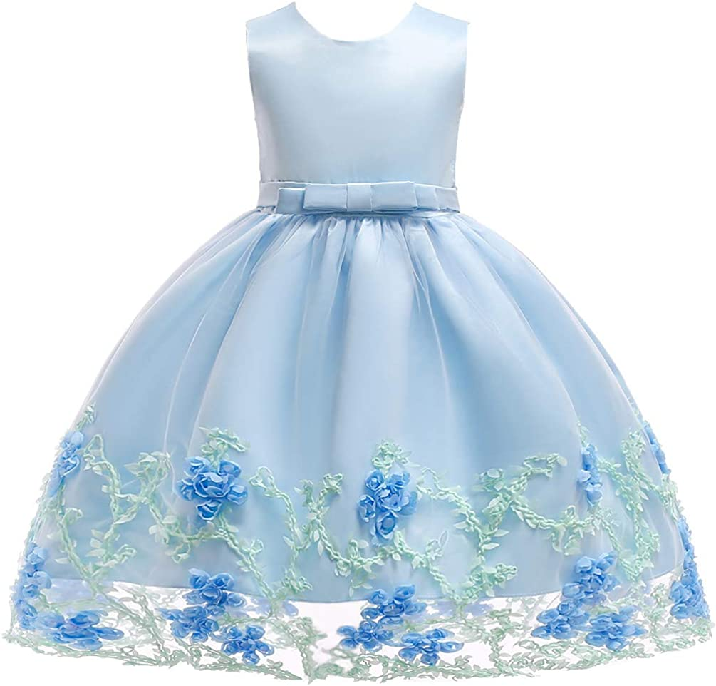 KILOMETERS Embroidery 3D Flower Girl Charlotte Mall Lace Dress Formal Superlatite Tulle Pa