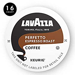 Lavazza Perfetto Single-Serve Coffee K-Cups for Keurig Brewer, Dark and Velvety Espresso Roast, 16-C