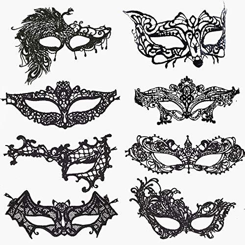 Venezianische Masken,Sexy Maskerade Maske 8er Pack Schwarz Spitze Augenmaske Halloween Augenmaske mit Gummibändern für Damen Lady Chirismas Party Masquerade Ball