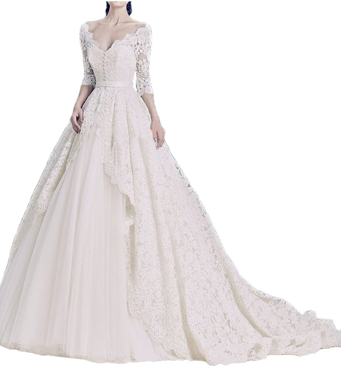 MILANO BRIDE Gorgeous Bridal Wedding Dress Lace Vneck 1 2 Sleeves Ball Gown