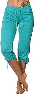 Pantalones de las Mujeres de las Señoras Lápiz de Verano de las Mujeres de Mediados de la Subida de Bolsillos Capri Cortos...