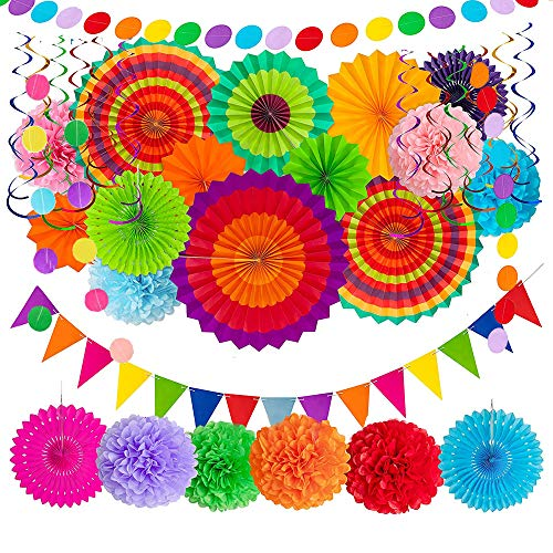 Fiesta Paper Fan Party Decorations Set Cinco De Mayo Pom Poms, Pennant, Garland, Banner, Hanging Swirls Decor Supplies