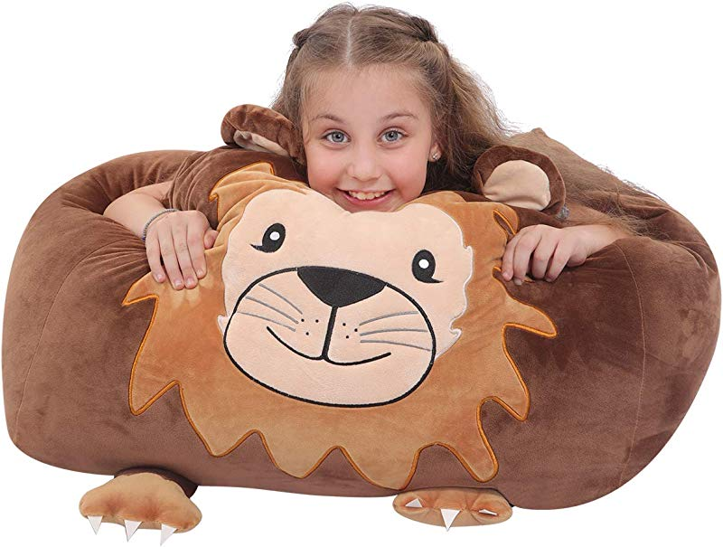 Youngeyee Giant Lion Stuffed Animal Storage Kids Bean Bag Chair 24x24x20 Inches Velvet Toy Organization And Storage Zipper Bags For Plush Toy Pillows Blankets Towels Clothes