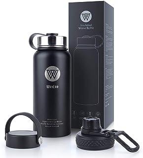 WayEee 950ml Botella de Agua térmica + 3 Tapones Acero Inoxidable Leakproof Cantimplora aislada para Oficina, Bicicleta, Deporte