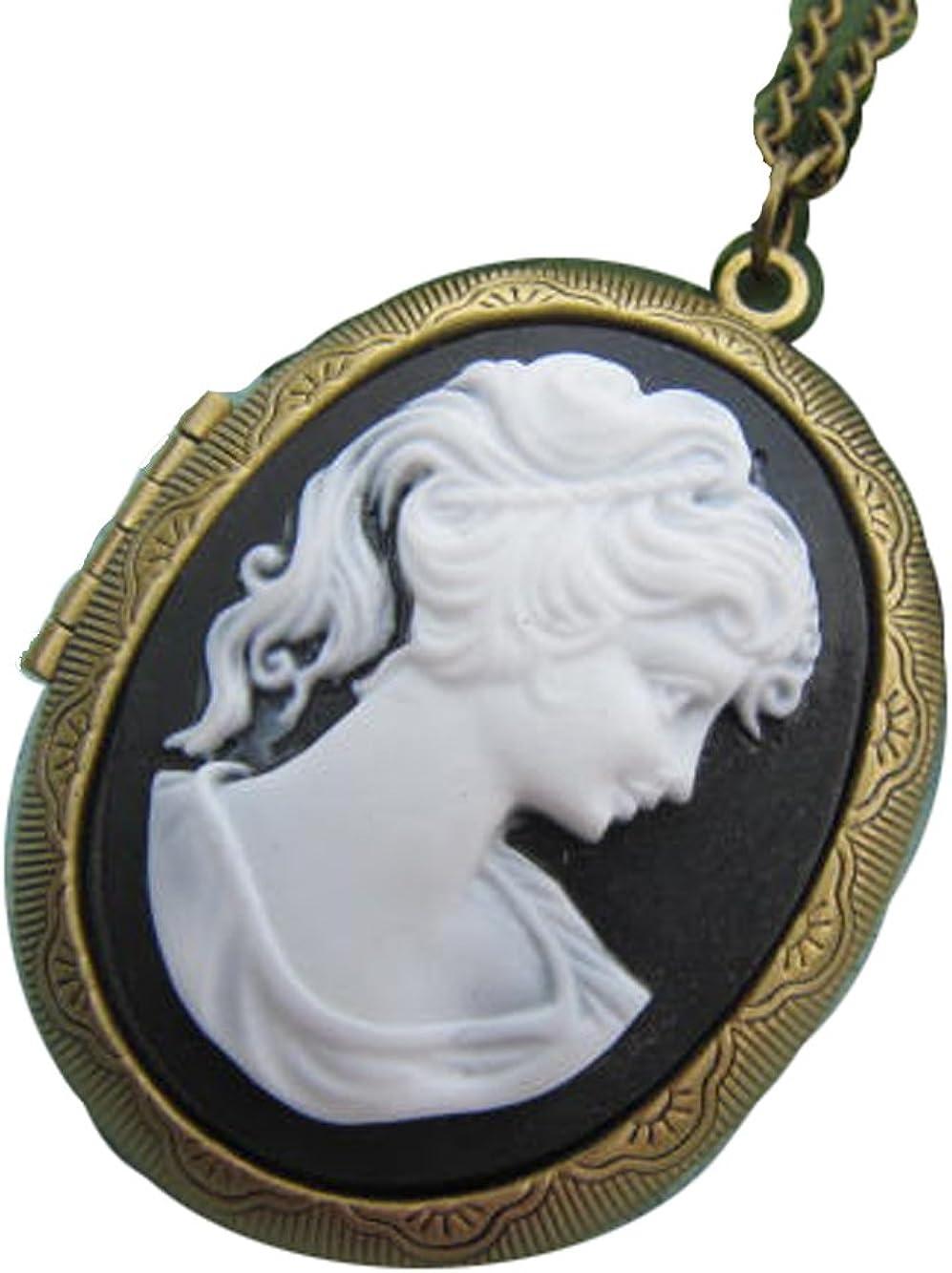 Cameo Locket Necklace Black White Cameo Necklace Vintage Lady Cameo Photo Locket Large Oval Locket