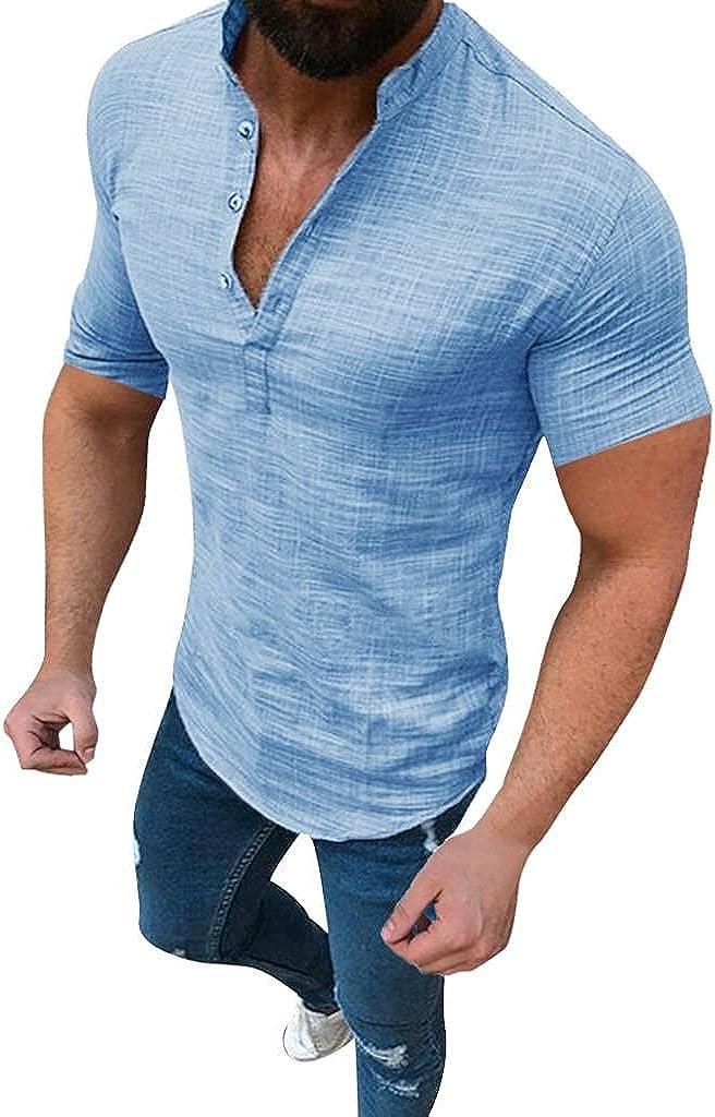 KEEYO Mens Linen Shirts Casual Short Sleeve Henley Cotton T-Shirts Slim Fit Hippie Summer Beach Yoga Tops