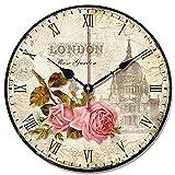 S.W.H Cute Retro estilo redondo Shabby Chic Iglesia Floral reloj de pared Halloween Navidad regalo 10 Inch