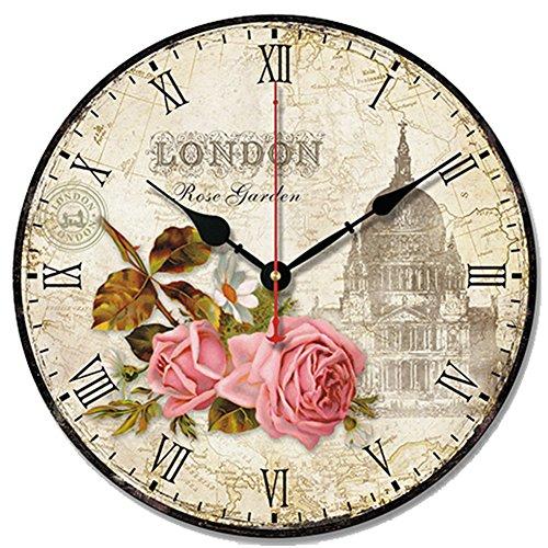 S.W.H Cute Style rétro rond Style shabby chic Église Floral Horloge murale Halloween Cadeau de Noël 25,4 cm