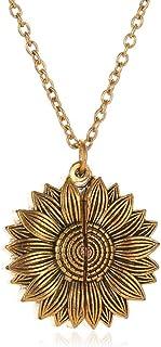 ACHICOO Sunshine Sunflower Women Necklace Lady Sautoir Retro Design Long Chain Can Open Sun Flower Pendant Necklace Fashio...