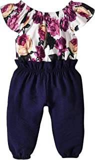 Toddler Baby Girls Overall Fall Off-Shoulder Bodysuit Floral Ruffle Jumpsuit Infant Baby Clothes